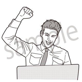 ガッツポーズをするビジネスマン(仕事,サラリーマン,PC,ビジネス)