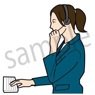 コールセンターで仕事をする女性 (仕事,ビジネスウーマン,PC,ビジネス、サポートセンター)