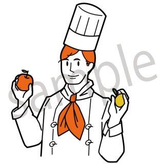 フルーツを持つコックさん イラスト(男性、レストラン、店員、飲食、料理)