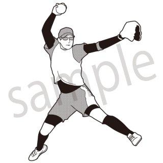 ソフトボール ピッチャー イラスト(投球、スポーツ)