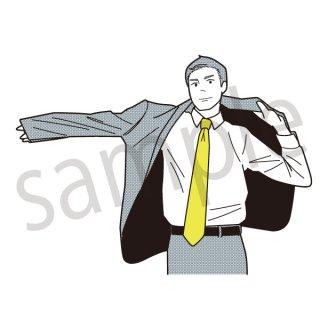 スーツを着る男性 イラスト(ビジネスマン、サラリーマン、社会人、会社員、スーツ)