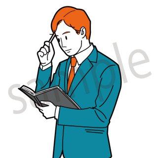 スケジュールを確認するビジネスマン イラスト(ビジネスマン、サラリーマン、社会人、会社員、スーツ)