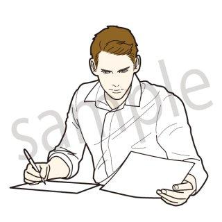 働くビジネスマン イラスト(ビジネス、会社員、サラリーマン、仕事)