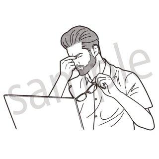 疲労 イラスト(ビジネス、会社員、サラリーマン、仕事、過労、疲れ、眠気、眠い)