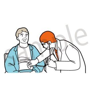 診察 イラスト(病院、病気、入院、検査)