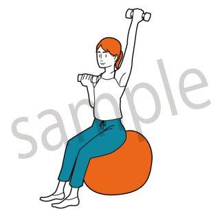 ストレッチをする女性 イラスト(ダイエット、運動、ストレッチ、準備運動)