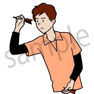 ダーツをする男性 イラスト(ダーツ、スポーツ、ダーツバー)
