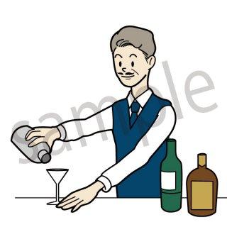バーテンダー  イラスト(バー、bar、カクテル、仕事)