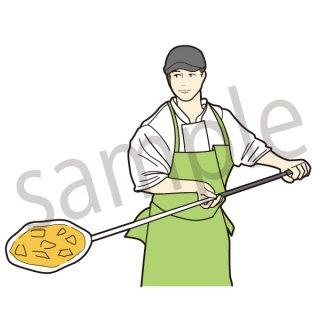 ピザ職人 イラスト(飲食、イタリアン、ピザ)