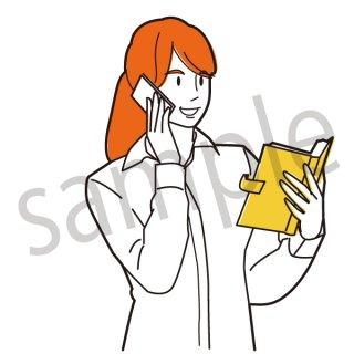 スケジュールを確認するビジネスウーマン イラスト(女性、サラリーマン、社会人、会社員、予定、スケジュール帳)