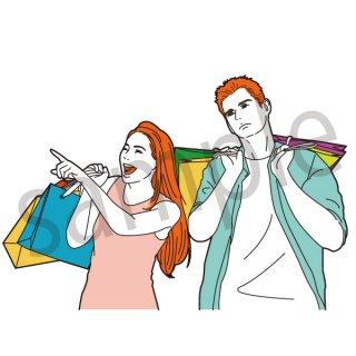 買い物をするカップル イラスト(女性、男性、夫婦、セール、量販店、初売り、ショッピング、買い物)