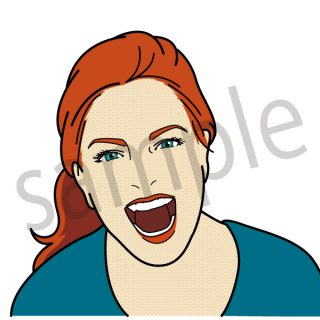 大笑いする女性 イラスト(女性、喜ぶ、大喜び、爆笑、嬉しい、笑顔)
