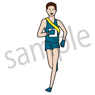 駅伝 ランナー イラスト(スポーツ、陸上、マラソン、正月)