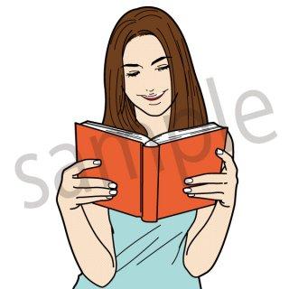 読書する女性 イラスト(本、書籍、笑顔、本を読む)