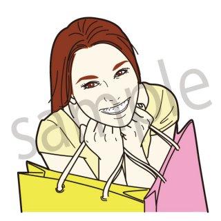 笑顔で買い物をする女性 イラスト(女性、セール、量販店、初売り、ショッピング、バーゲン)