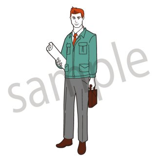 建設会社 社員 イラスト(設計、建築、建築会社、建設、建設現場、作業員)