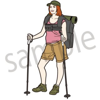 登山する女性 イラスト(登山、アウトドア、キャンプ、トレッキング、全身、ファッション)