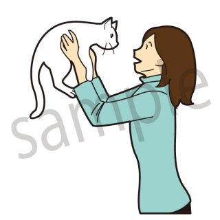 猫と女性 イラスト (ペット、家族、猫、ネコ、ねこ、子猫)