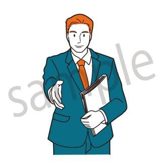 握手を求めるビジネスマン イラスト(サラリーマン、会社員、営業)