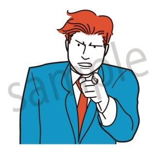 指を差すビジネスマン イラスト(サラリーマン、会社員、営業、ビジネスマン、ジェスチャー)