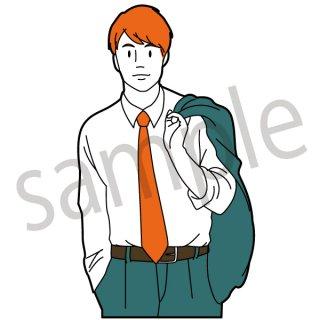 スーツを肩にかけるサラリーマン イラスト(新入社員、若手、サラリーマン、会社員、営業、ビジネスマン、ジェスチャー)