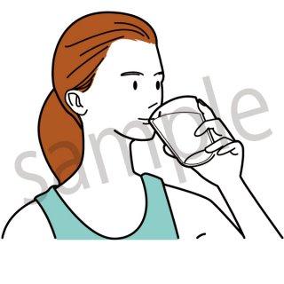 牛乳を飲む人 イラスト(ヘルスケア、健康、ダイエット)