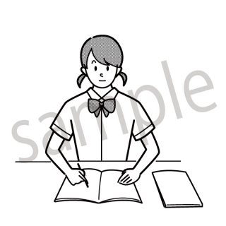 勉強をする女子高生 イラスト(テスト勉強、受験勉強、学生)