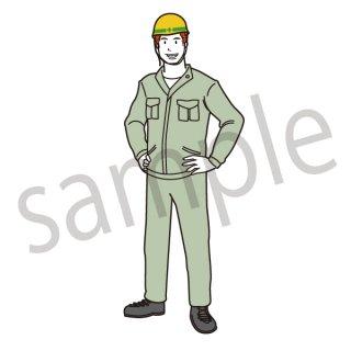 工場 働く人 イラスト(ビジネス、建築、製造業、会社員)