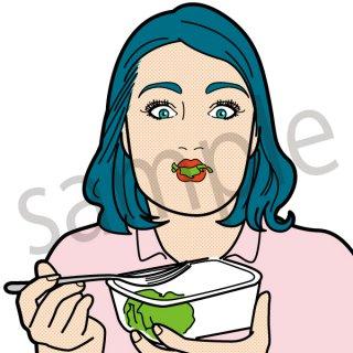 野菜を食べる人 女性(健康、弁当、ダイエット、ベジタブル)