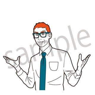驚くサラリーマン イラスト(ワオ、びっくりする、ビックリ新入社員、若手、サラリーマン、会社員、営業、ビジネスマン、ジェスチャー)