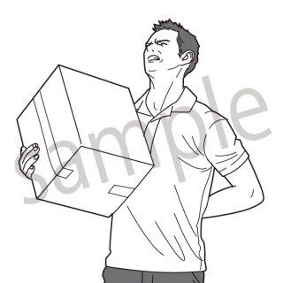 腰痛 イラスト(ビジネス、会社員、サラリーマン、仕事、不健康、腰、怪我、ぎっくり腰、運送会社)