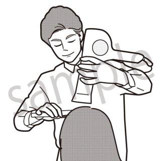 美容室 イラスト(美容院,美容室,ヘアカット、美容師、ドライヤーをかける)