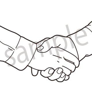 握手 イラスト(ビジネスシーン、スーツ、サラリーマン、ビジネスマン、手元)