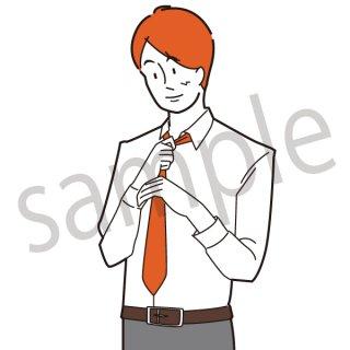 ネクタイを締める男性 イラスト(サラリーマン、会社員、営業、ビジネスマン、ジェスチャー)