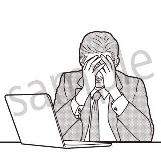 頭を抱える男性 イラスト(サラリーマン、会社員、営業、ビジネスマン、ジェスチャー、失敗、落ち込む)