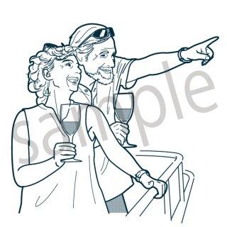 仲のいい夫婦 イラスト(旅行、女性、男性、夫婦、セール、量販店、初売り、ショッピング、買い物)