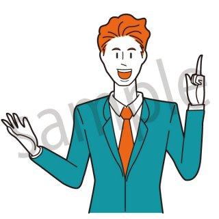 指を立て喋るビジネスマン イラスト(サラリーマン、会社員、営業、ビジネスマン、ジェスチャー、失敗、落ち込む)