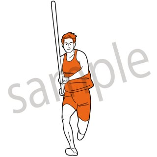 棒高跳び 陸上  イラスト(棒高跳び、スポーツ、オリンピック)