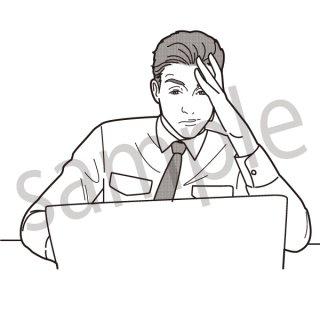 ボーッとパソコンを眺めるビジネスマン イラスト(ビジネス、会社員、サラリーマン、仕事、過労、疲れ、眠気、眠い)