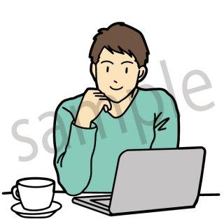 在宅ワーク イラスト(ビジネス、会社員、サラリーマン、仕事、リモートワーク、テレワーク、パソコン、コーヒー)