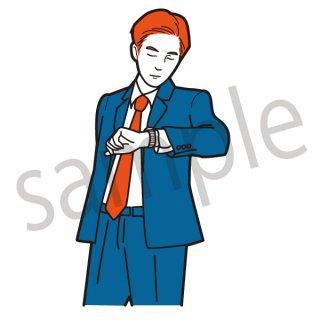 時計を見るビジネスマン イラスト(ネクタイ、スーツ、ビジネス、サラリーマン)