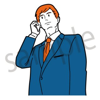 電話をするビジネスマン イラスト(スマホ、営業、ネクタイ、スーツ、ビジネス、サラリーマン)