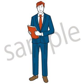 書類を持つビジネスマン イラスト(資料、全身、営業、ネクタイ、スーツ、ビジネス、サラリーマン)