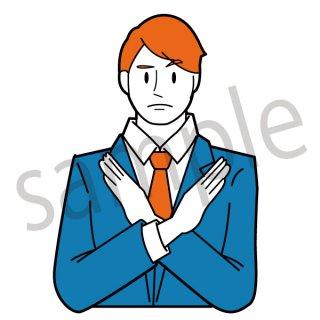 手をクロスするビジネスマン イラスト(失敗、駄目、ダメ、拒否、営業、ネクタイ、スーツ、ビジネス、サラリーマン)