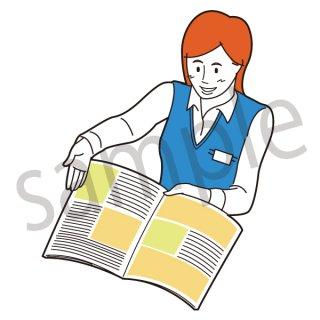 資料を広げるビジネスウーマン イラスト(拒否、営業、仕事、ビジネス、OL)