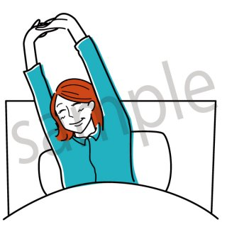朝目覚める女性 イラスト(起床、朝、早朝、寝起き、睡眠、ヘルスケア)