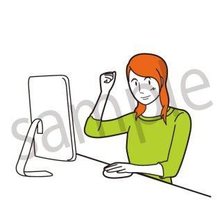 パソコンで仕事をする女性 イラスト(ビジネスシーン、女性、パソコン、ビジネスウーマン)