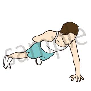 筋トレをする男性 イラスト(腕立て伏せ、筋肉、筋トレ、ダイエット、運動、ストレッチ、トレーニング)