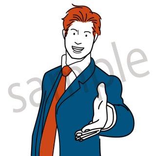 握手をしようとするビジネスマン イラスト(ビジネスシーン、スーツ、サラリーマン、ビジネスマン)