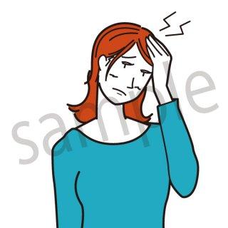 頭痛 女性 イラスト(ビジネス、会社員、仕事、不健康、悩む、悩み、痛い)